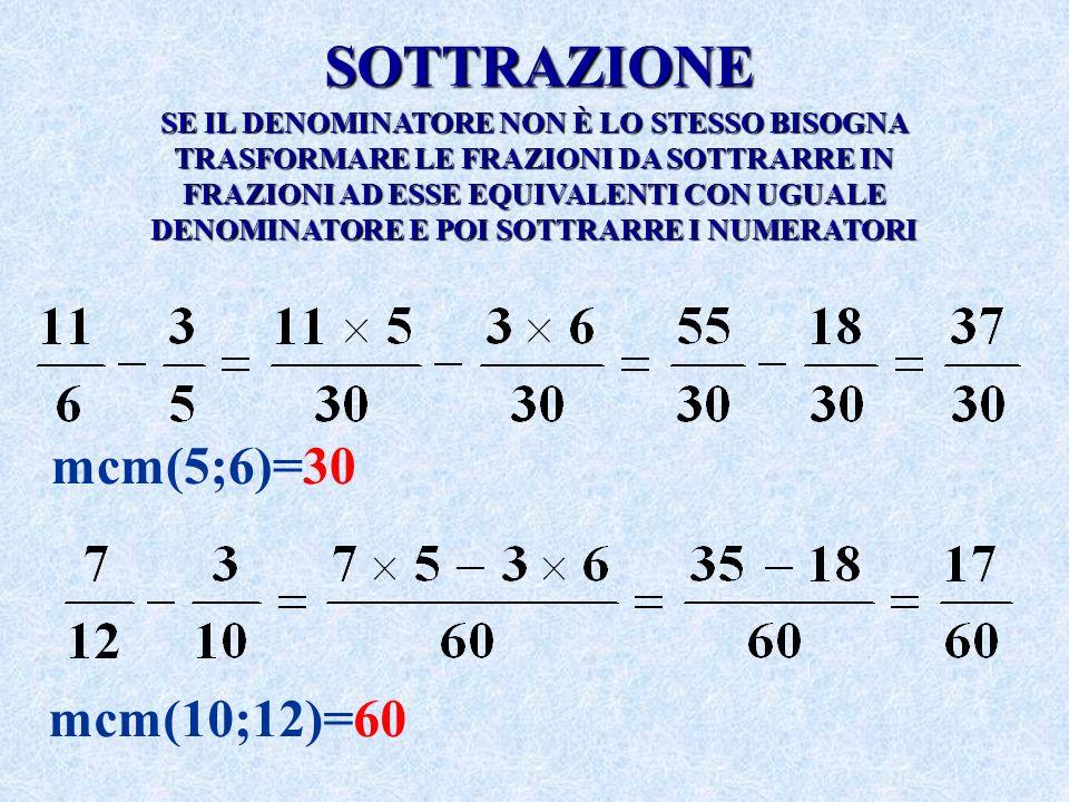 SOTTRAZIONE mcm(5;6)=30 mcm(10;12)=60
