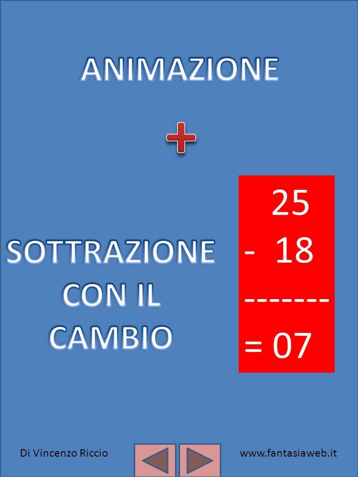 + 25 - 18 ------- = 07 ANIMAZIONE SOTTRAZIONE CON IL CAMBIO