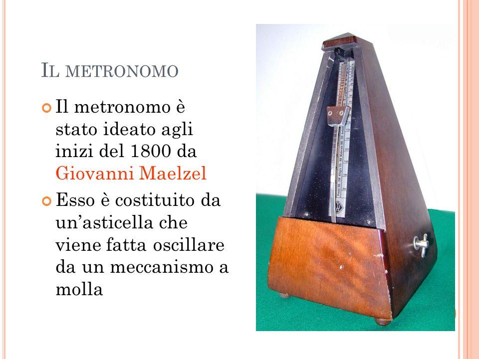 Il metronomo Il metronomo è stato ideato agli inizi del 1800 da Giovanni Maelzel.
