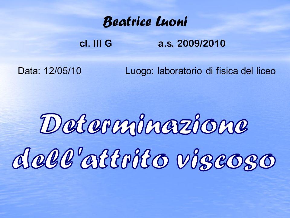 Beatrice Luoni Determinazione dell attrito viscoso