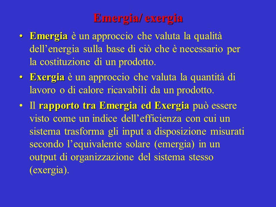 Emergia/ exergia Emergia è un approccio che valuta la qualità dell'energia sulla base di ciò che è necessario per la costituzione di un prodotto.