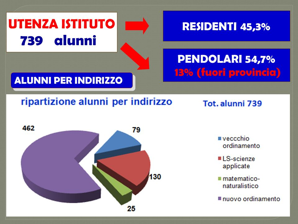 739 alunni UTENZA ISTITUTO RESIDENTI 45,3% PENDOLARI 54,7%