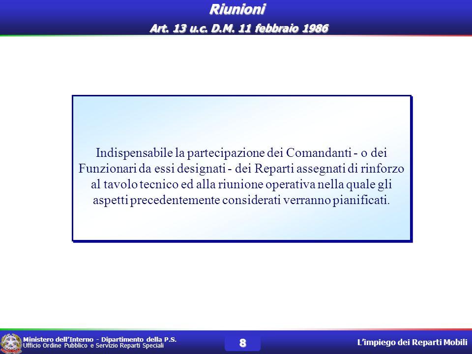 Riunioni Art. 13 u.c. D.M. 11 febbraio 1986
