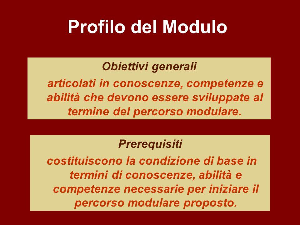 Profilo del Modulo Obiettivi generali