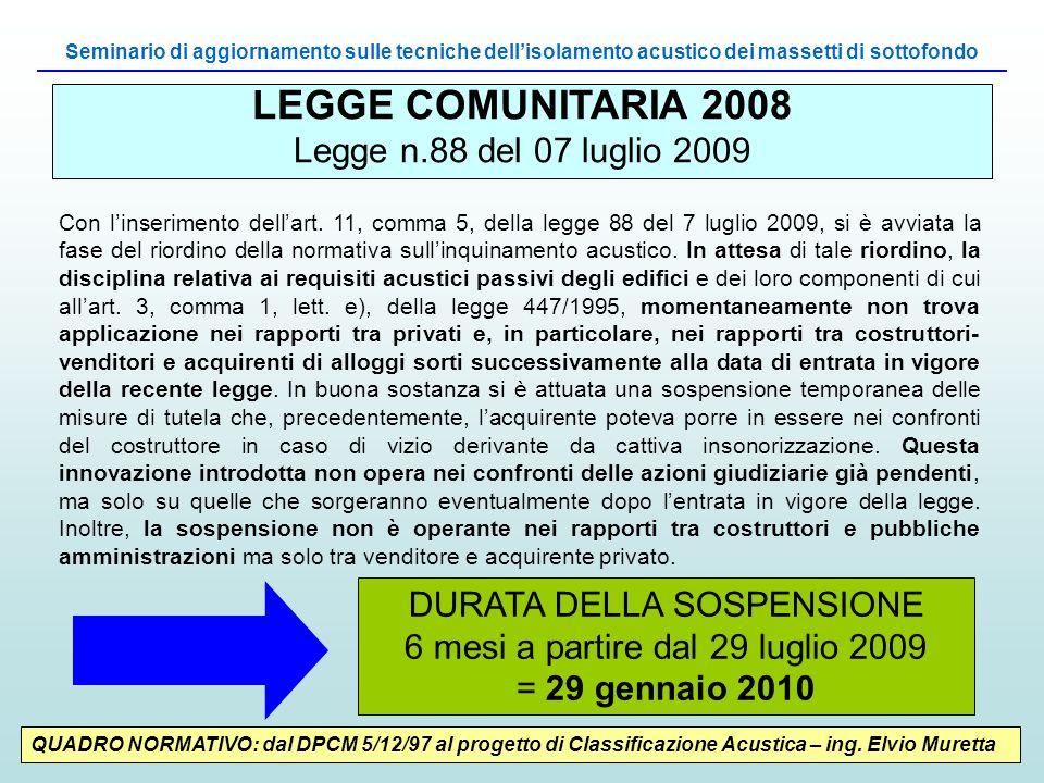 LEGGE COMUNITARIA 2008 Legge n.88 del 07 luglio 2009