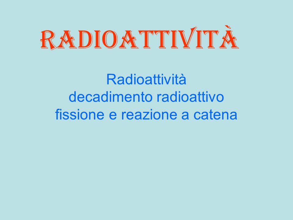 Radioattività decadimento radioattivo fissione e reazione a catena