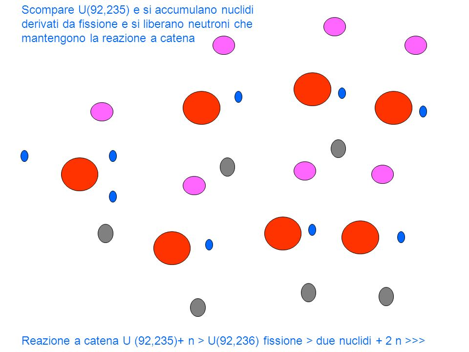 Scompare U(92,235) e si accumulano nuclidi derivati da fissione e si liberano neutroni che mantengono la reazione a catena