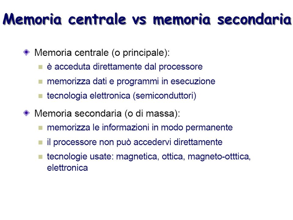 Memoria centrale vs memoria secondaria