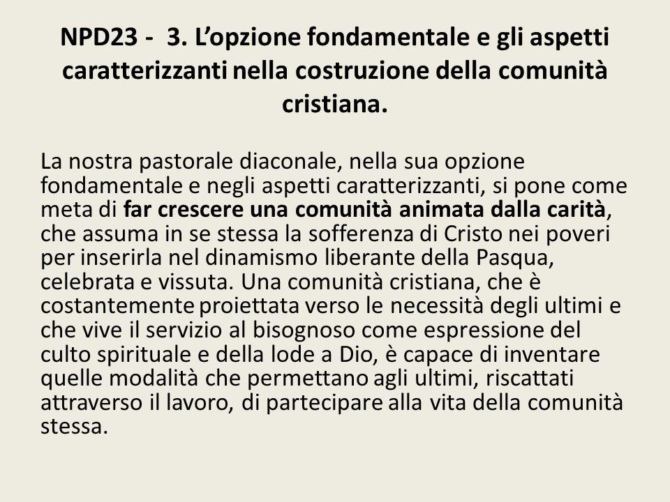 NPD23 - 3. L'opzione fondamentale e gli aspetti caratterizzanti nella costruzione della comunità cristiana.