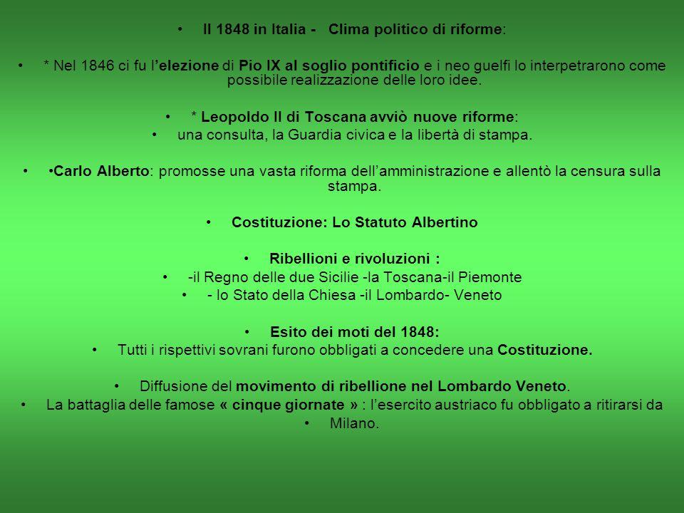 Costituzione: Lo Statuto Albertino Ribellioni e rivoluzioni :