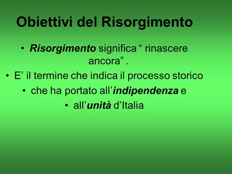 Obiettivi del Risorgimento