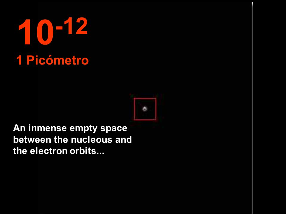 10-12 1 Picómetro An inmense empty space between the nucleous and the electron orbits...