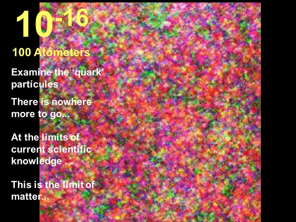 10-16 100 Atómeters Examine the 'quark' partícules