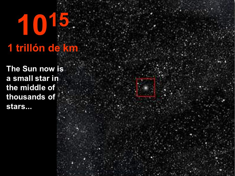 1015 1 trillón de km The Sun now is a small star in the middle of thousands of stars...