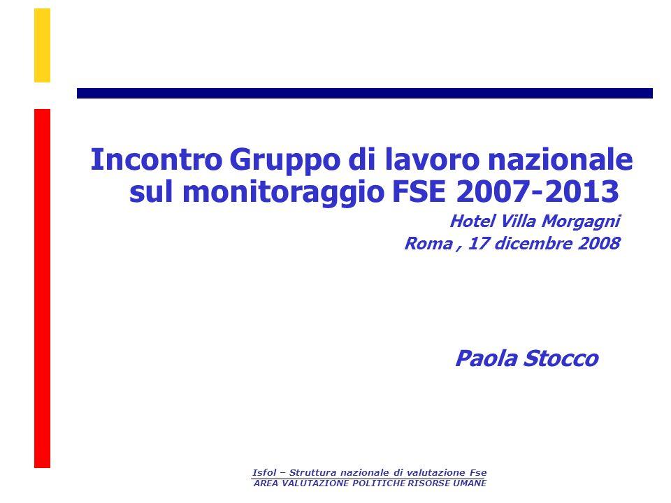Incontro Gruppo di lavoro nazionale sul monitoraggio FSE 2007-2013