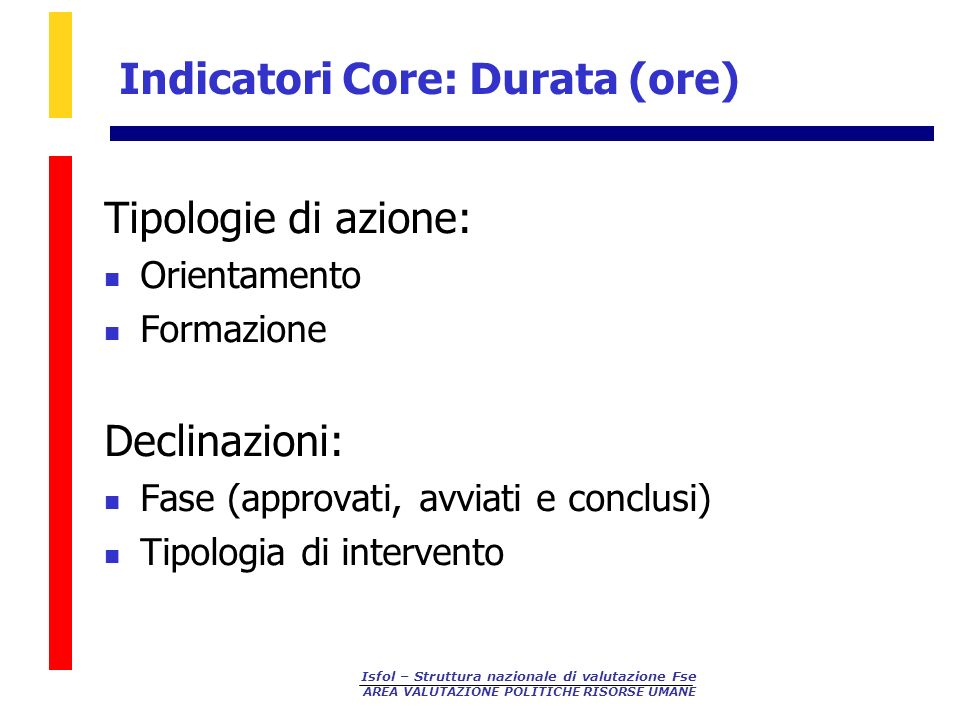 Indicatori Core: Durata (ore)