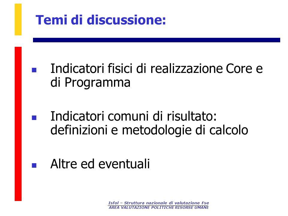 Indicatori fisici di realizzazione Core e di Programma
