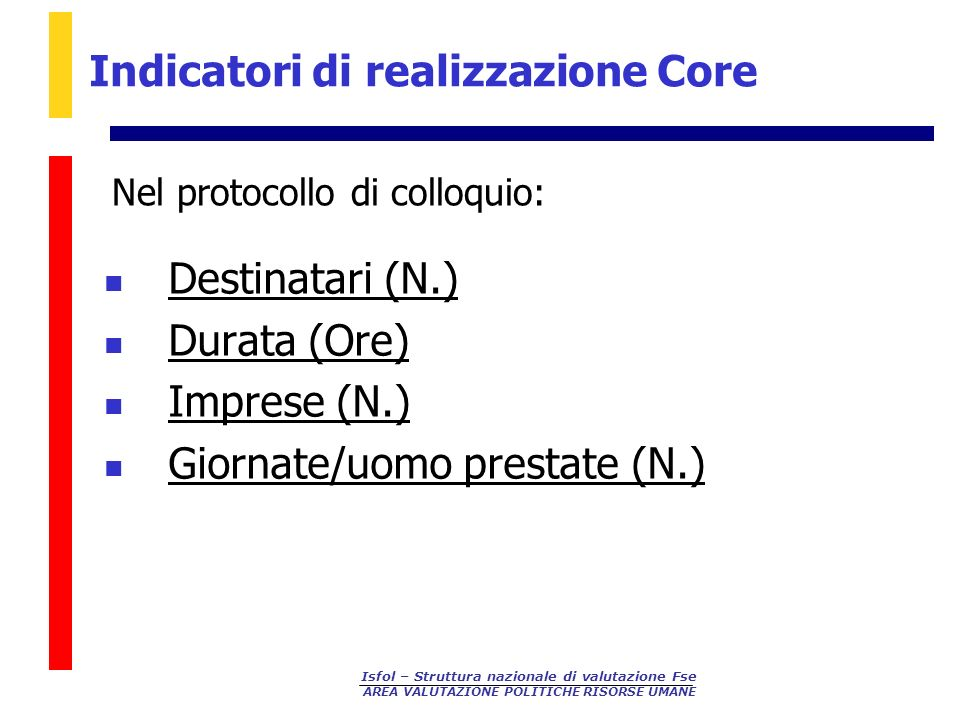 Indicatori di realizzazione Core