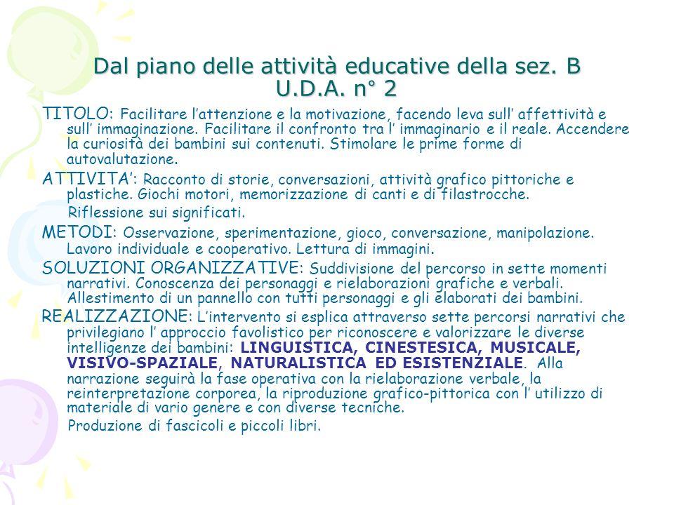 Dal piano delle attività educative della sez. B U.D.A. n° 2