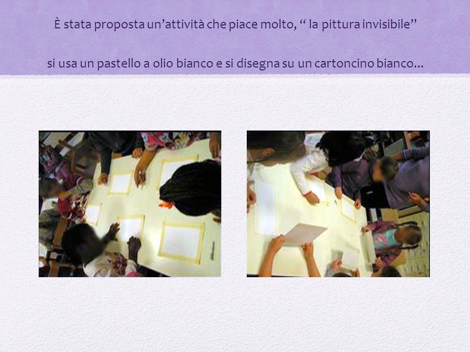 È stata proposta un'attività che piace molto, la pittura invisibile si usa un pastello a olio bianco e si disegna su un cartoncino bianco...
