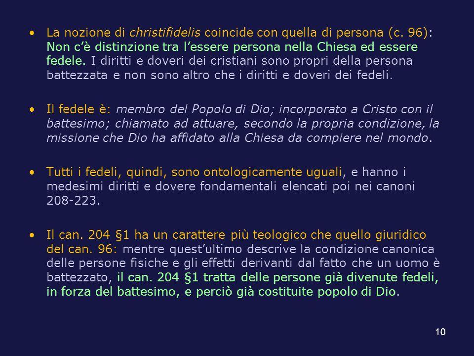 La nozione di christifidelis coincide con quella di persona (c