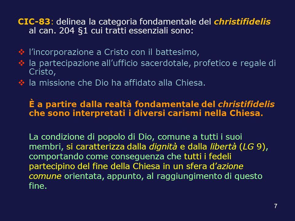 CIC-83: delinea la categoria fondamentale del christifidelis al can