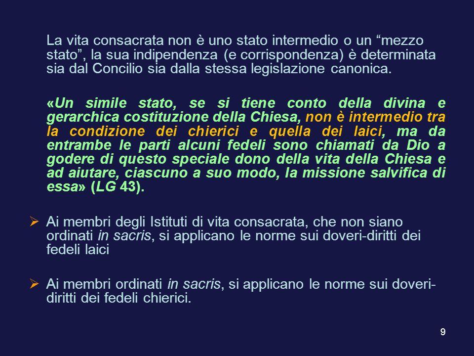 La vita consacrata non è uno stato intermedio o un mezzo stato , la sua indipendenza (e corrispondenza) è determinata sia dal Concilio sia dalla stessa legislazione canonica.