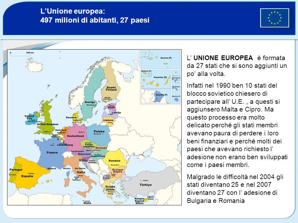 L'Unione europea: 497 milioni di abitanti, 27 paesi