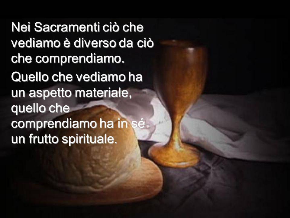 Nei Sacramenti ciò che vediamo è diverso da ciò che comprendiamo.