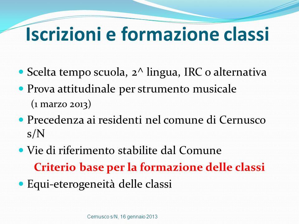 Iscrizioni e formazione classi