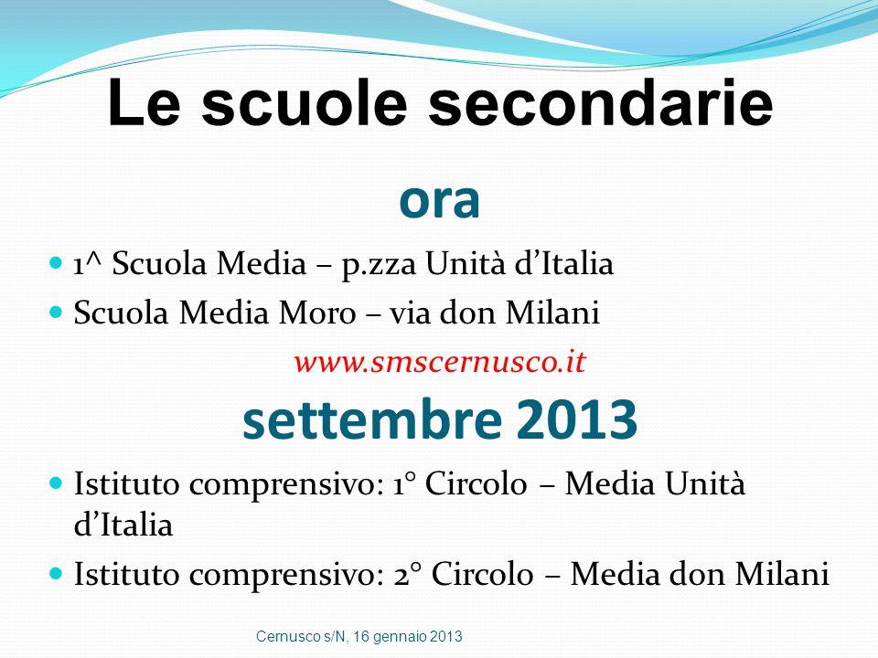 Le scuole secondarie ora settembre 2013