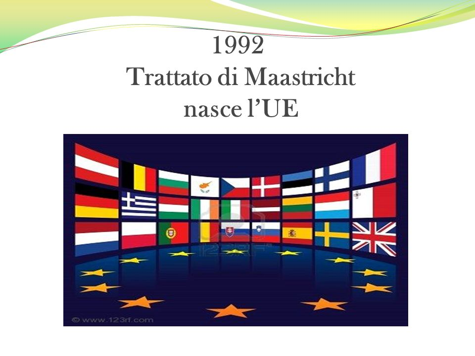 1992 Trattato di Maastricht nasce l'UE