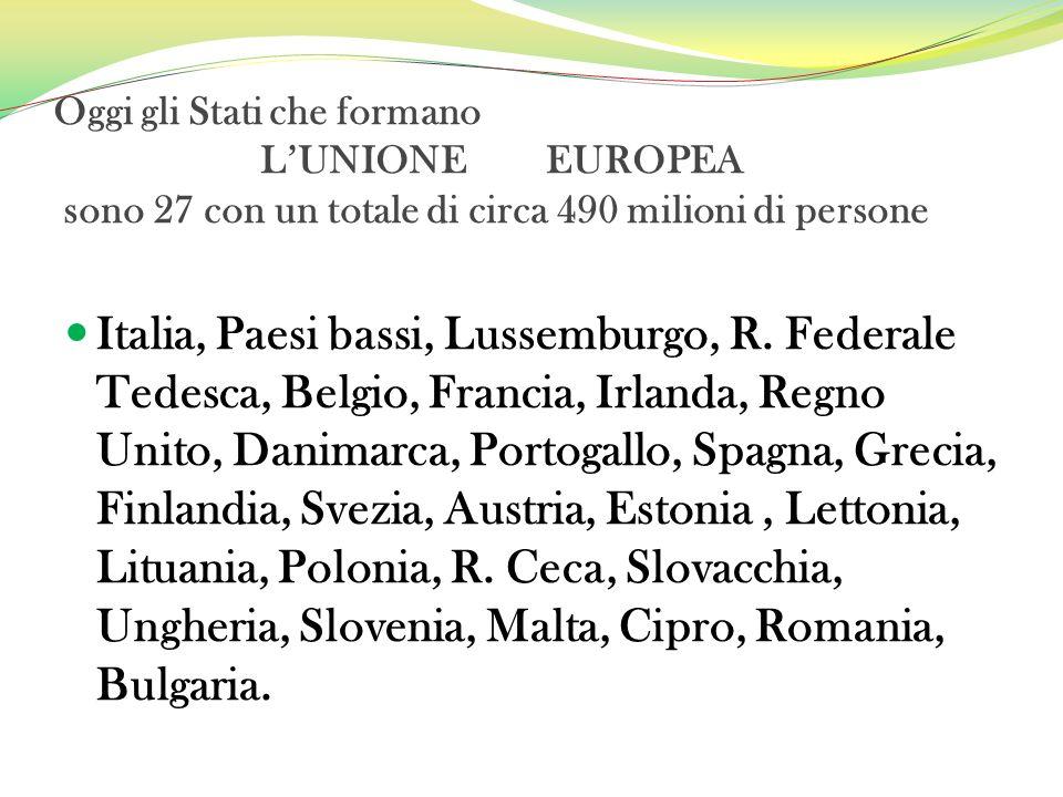 Oggi gli Stati che formano L'UNIONE EUROPEA sono 27 con un totale di circa 490 milioni di persone