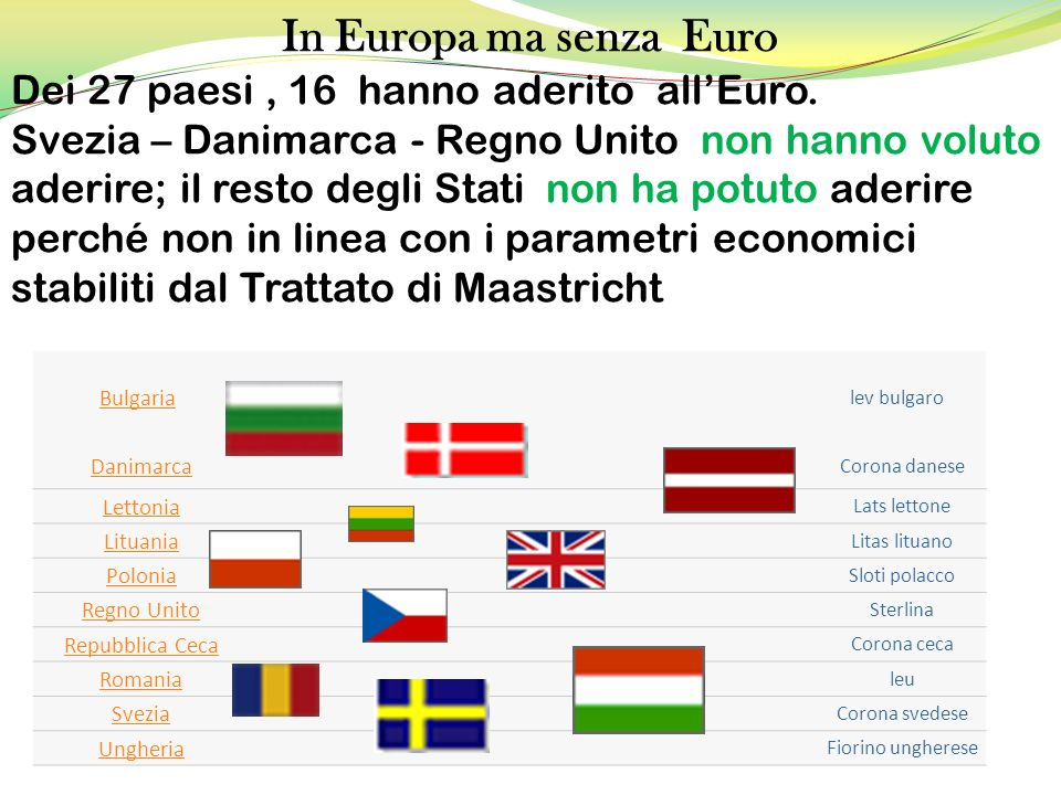 In Europa ma senza Euro Dei 27 paesi , 16 hanno aderito all'Euro.