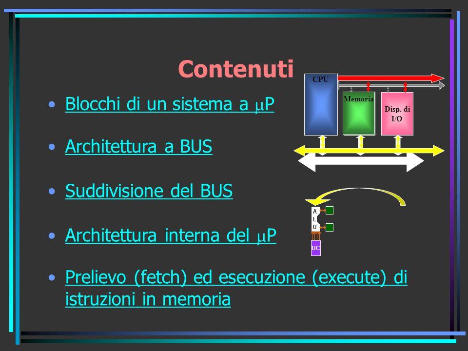 Contenuti Blocchi di un sistema a mP Architettura a BUS