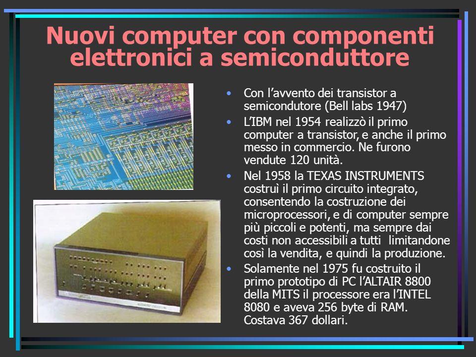 Nuovi computer con componenti elettronici a semiconduttore