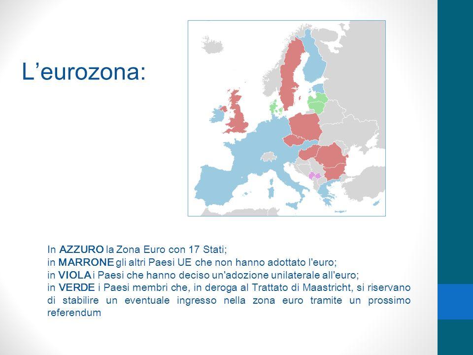 L'eurozona: In AZZURO la Zona Euro con 17 Stati;
