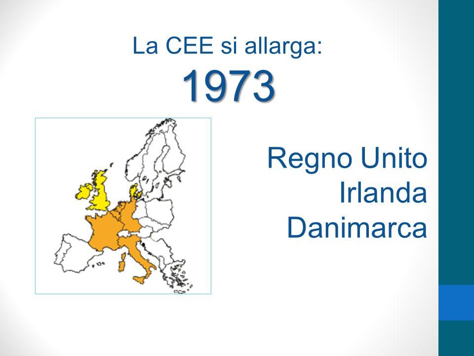 La CEE si allarga: 1973 Regno Unito Irlanda Danimarca