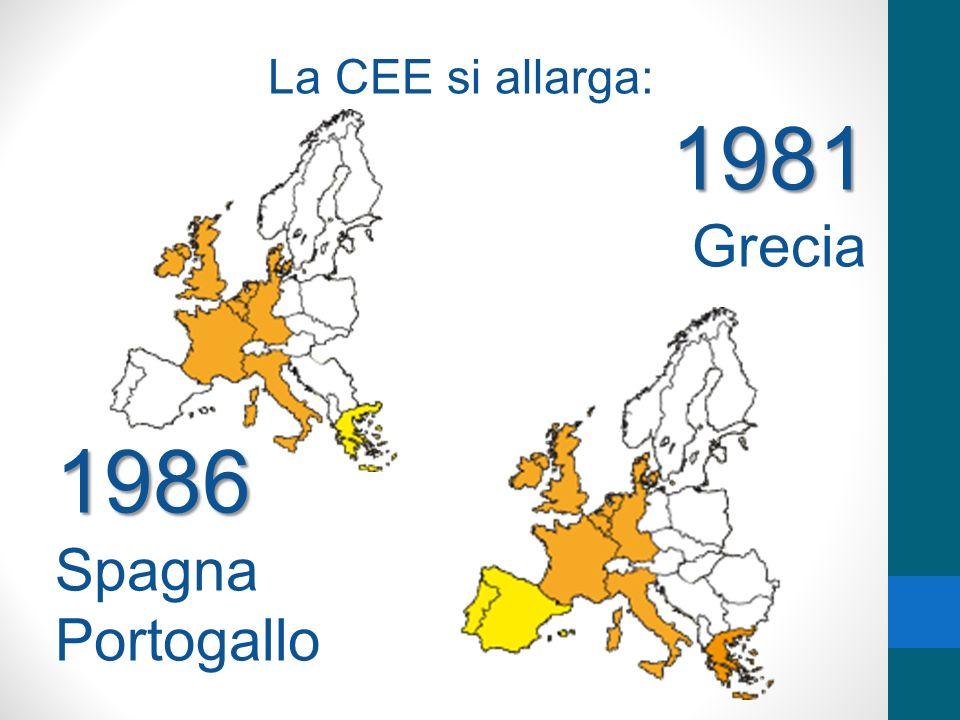 La CEE si allarga: 1981 Grecia 1986 Spagna Portogallo