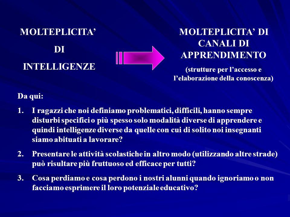 MOLTEPLICITA' DI INTELLIGENZE MOLTEPLICITA' DI CANALI DI APPRENDIMENTO