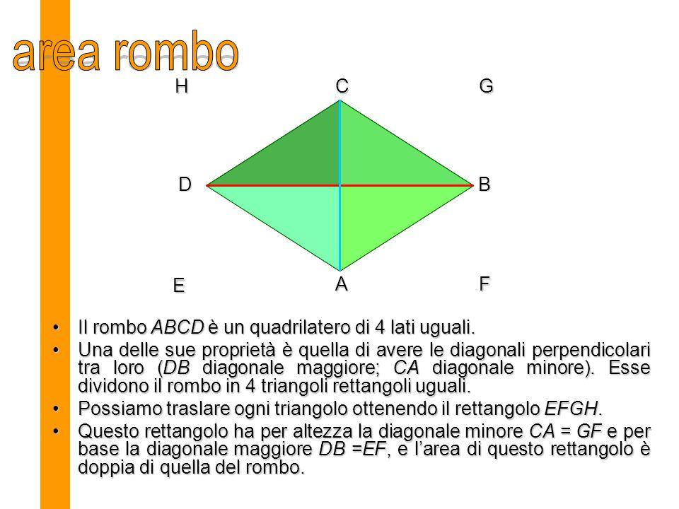 area rombo H. C. G. D. B. E. A. F. Il rombo ABCD è un quadrilatero di 4 lati uguali.