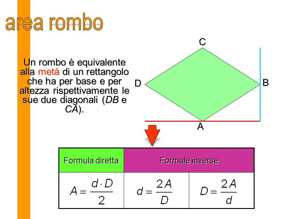 area rombo C. Un rombo è equivalente alla metà di un rettangolo che ha per base e per altezza rispettivamente le sue due diagonali (DB e CA).