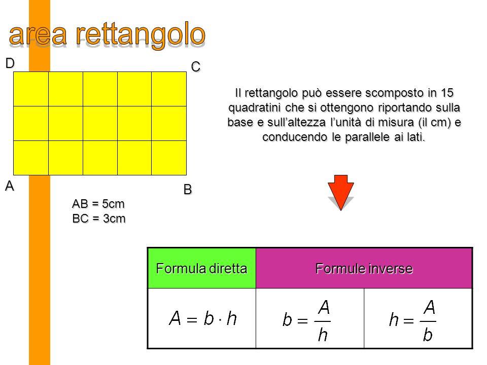 area rettangolo D C A B Formula diretta Formule inverse