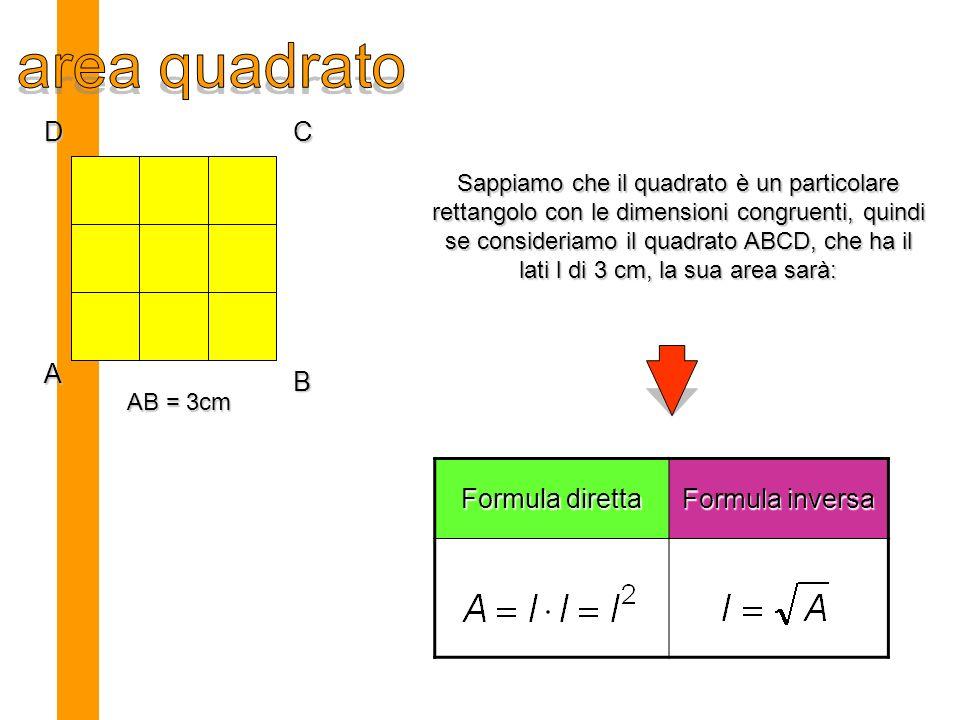 area quadrato D C A B Formula diretta Formula inversa