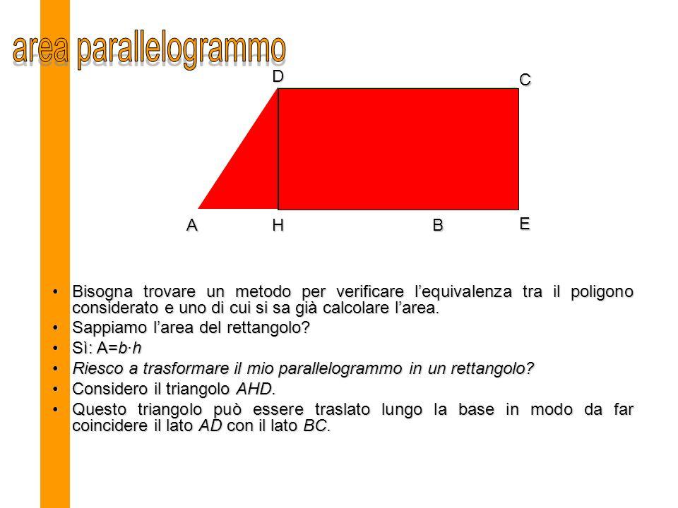 area parallelogrammo D C A H B E