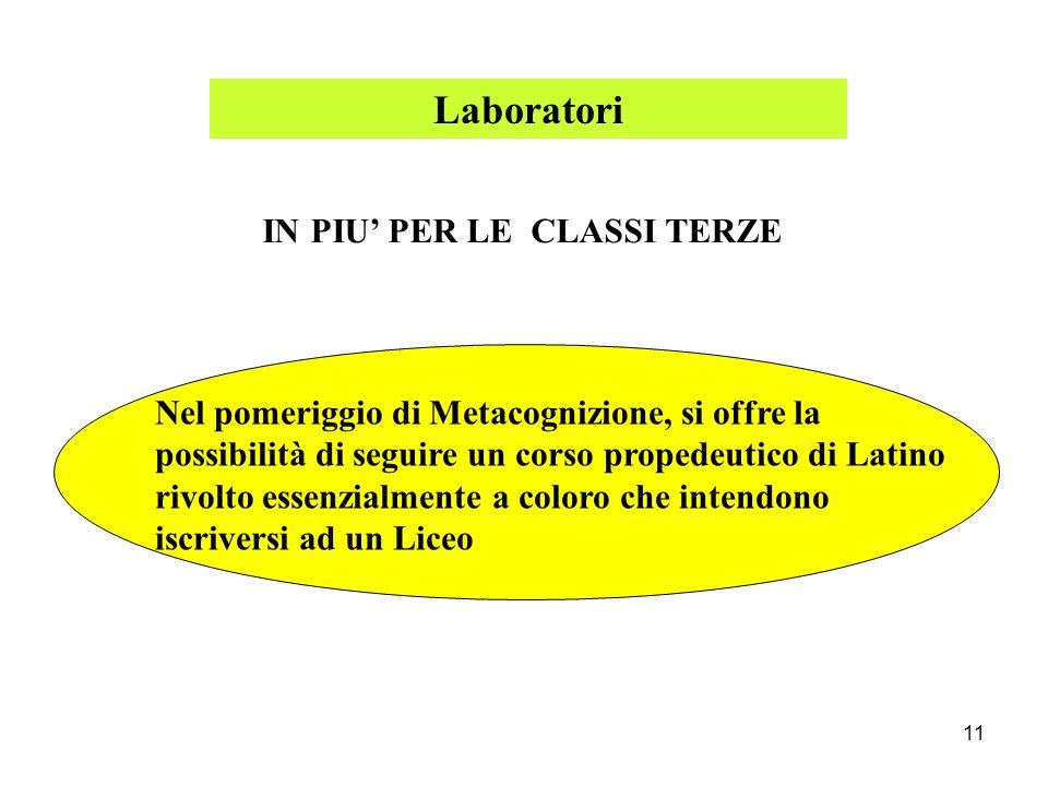 Laboratori IN PIU' PER LE CLASSI TERZE