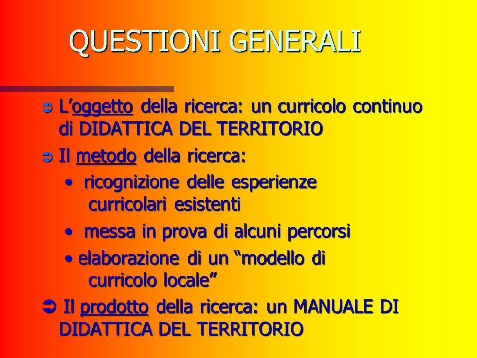 QUESTIONI GENERALI L'oggetto della ricerca: un curricolo continuo di DIDATTICA DEL TERRITORIO. Il metodo della ricerca: