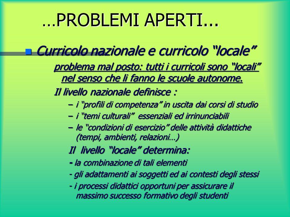 …PROBLEMI APERTI... Curricolo nazionale e curricolo locale