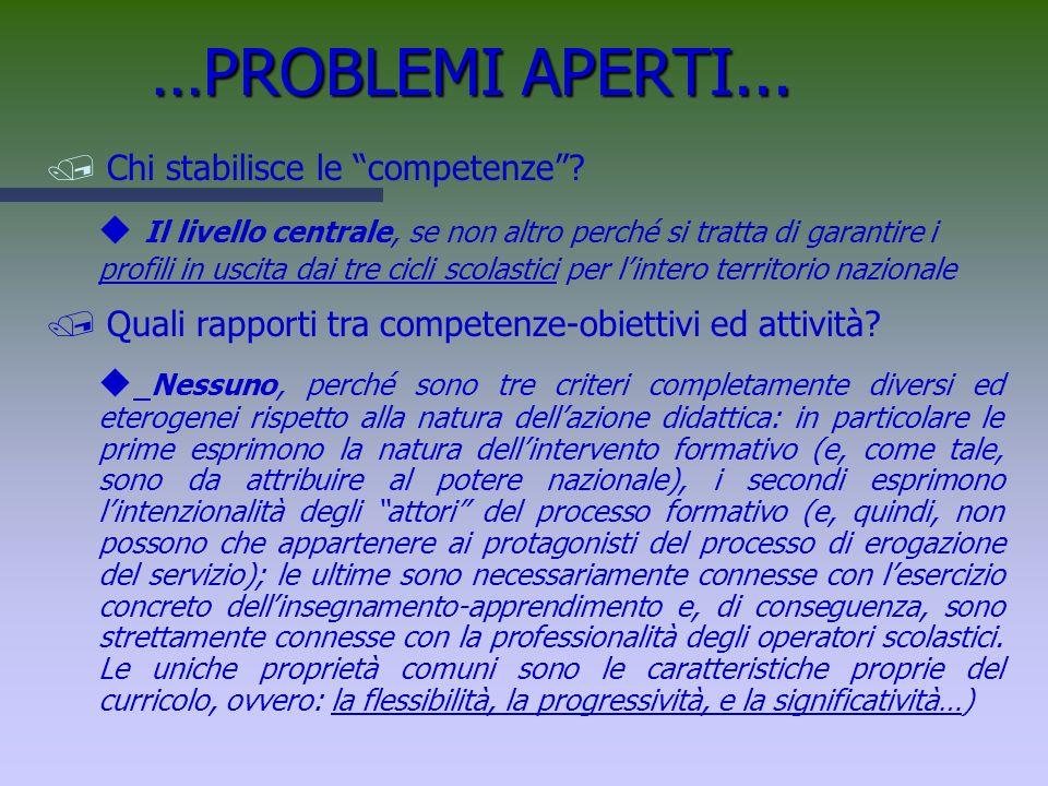 …PROBLEMI APERTI... Chi stabilisce le competenze