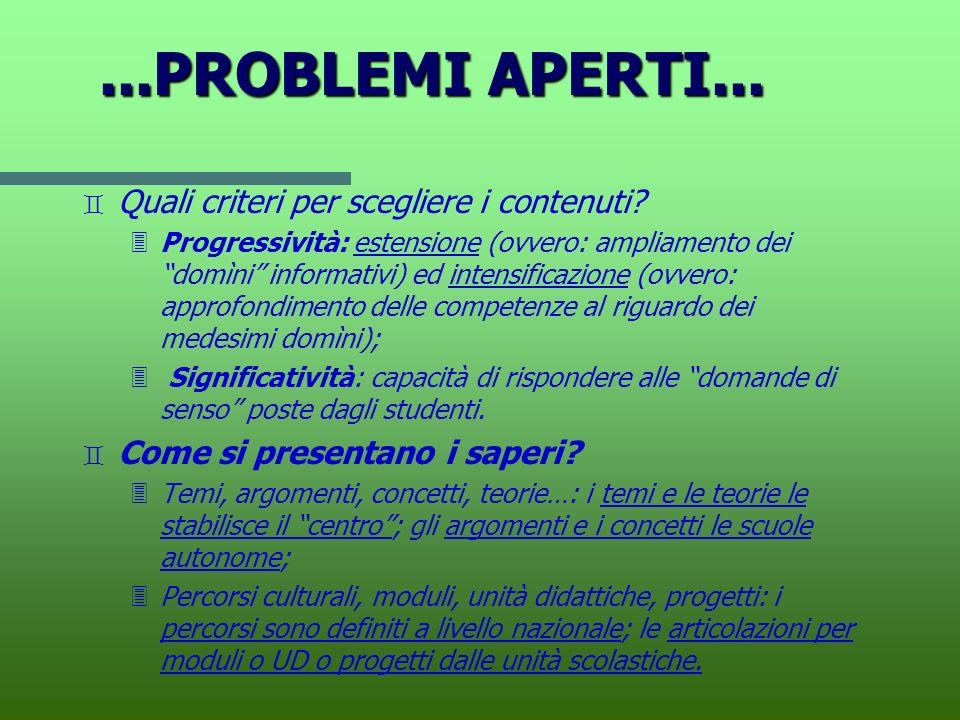 ...PROBLEMI APERTI... Quali criteri per scegliere i contenuti